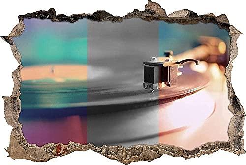 Grabadora vintage3D Etiqueta de la pared Etiqueta de vinilo extraíble decoración de Sala de Arte de Vinilo para Sala de Estar Dormitorio Cocina-50x70cm