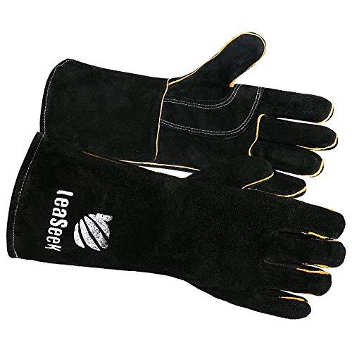 LeaSeek - Guantes de Soldadura,Guantes de cuero resistentes para barbacoas (parrillas), soldadura y chimeneas. Resistentes al calor e ignífugos. Color negro, 35,6 cm
