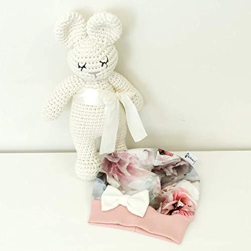 Mütze Hibiskus Grau Rose mit Schleife Weiß Baby Mädchen