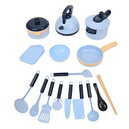 GOTOTOP Juego de Juguetes de Accesorios de cocinas de Juego, Juego de Platos de Cocina de Juego de simulación, Juego de Cocina, Juguetes de Aprendizaje para niños, niñas, niños(Azul)