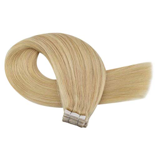 14 Inch Tape in Highlighted Hair Extensions Human Hair Color #16 Golden Blonde Highlighted #22 Blonde 50g Remy Human...