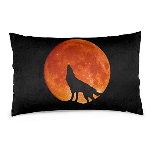 iksrgfvb Pillowcases 16X24inch Full Moon Wolf Blood Red Throw Pillow Covers Sofa Car Cushion Cover Home Decorative 40X60CM
