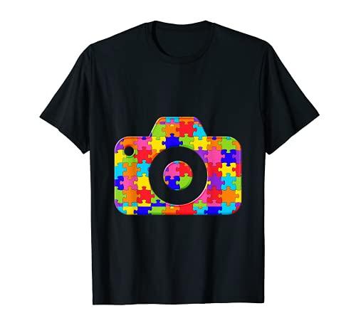Fotograf Kamera Puzzle Autism Puzzle T-Shirt