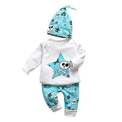 Fenverk3St Baby Kleidung Set Body Strampelhose MüTze TeddybäR Harry Potter Unisex Babykleidung - Hosen Snuggle MäDchen Jungle Kurzarm T-Shirt + Long Pants + Hut (B Blau,70)