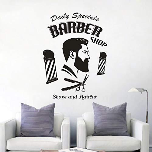 Friseursalon Zeichen Wandkunst Aufkleber für Rasur und Haarschnitt Fenster Vinyl Poster für Friseursalon Friseur Frisur Wanddekoration Aufkleber A2 57x77cm