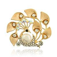 CSHIJI ブローチ 合金 孔雀 キラキラ スカーフクリップ シャツ スーツ ブローチピン タックピン 胸飾り 服装のアクセサリー 結婚式 パーティー ギフト 贈り物 ゴールド