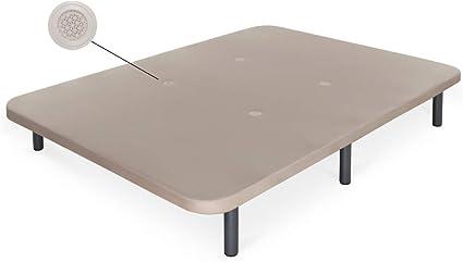 Dormidán - Base tapizada con Tejido 3D y válvulas de aireación + 6 Patas Acero 30cm, Refuerzo Central, Medida 80x200cm