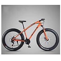 マウンテンバ大人用ハードテールマウンテンバイク26インチファットタイヤ、男性、女性、高炭素鋼、オールテレーンマウンテントレイル自転車、調整可能なシート、デュアルディスクブレーキ、フロントサスペンション,Spoke orange,30 Speed