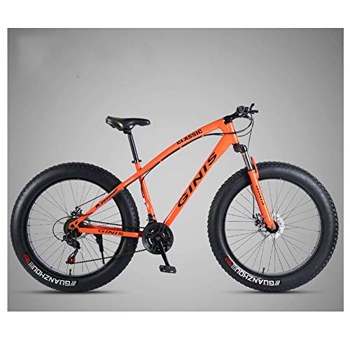 NENGGE Adulto Bicicleta Montaña 26 Pulgadas Neumático Gordo, Profesional Hard Tail MTB para Hombre Mujer, Doble Freno Disco Bicicleta BTT, Doble Suspensión Ciclismo,Spoke Orange,30 Speed