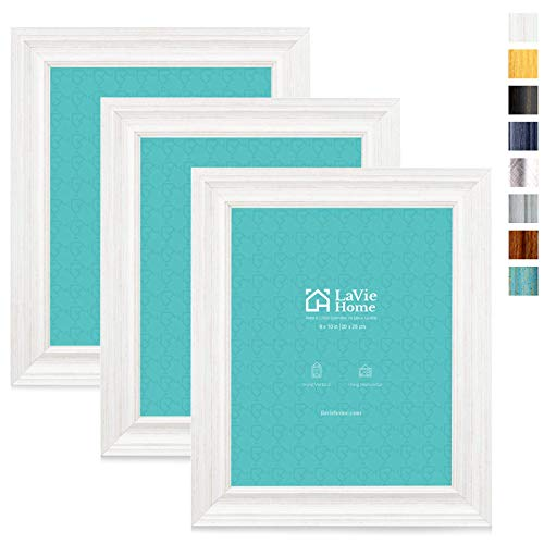 LaVie Home 8x10 Picture Frames (3 Pack, Distressed White Wood Grain) Rustic Photo Frame Set with High Definition Glass for Wall Mount & Table Top Display