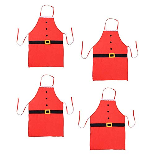 4Pack Christmas Apron, Holiday Kitchen Apron Christmas Santa Claus Decoration Apron for Christmas Dinner Party Cooking Baking Crafting House Cleaning Kitchen for Children