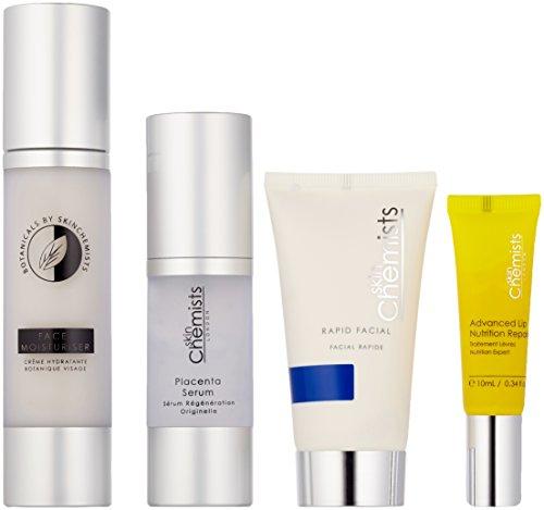 Skin Chemists Full Face Care Set Contains Rapid Facial/Placenta Serum/Botanicals Face Moisturiser and Advanced Lip Nutrition Repair