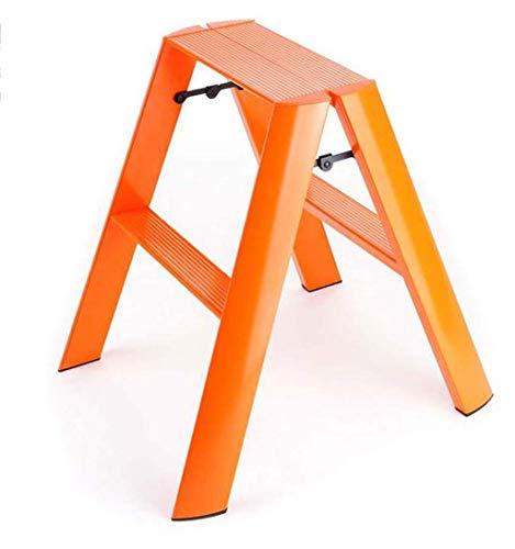 WHF Trittleiter , Leiter , Tritthocker Doppelleiter Haushaltsfarbe Leiter Metallrutsche Multifunktionales Wohnzimmer Küchenleiter Schlafzimmer Balkon Regal Arbeitssparend,Orange,50 X 15 X 60 cm