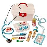 Juguete Doctor en madera, juegos de imitación 16Pezzi maletín de doctor con accesorios kits de disfraz para niños chicos chicas 3años 16pezzi rojo