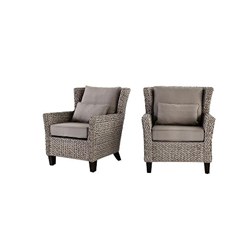 Hampton Bay Megan Grey All-Weather Wicker Outdoor Lounge Chair with Cushion (2-Pack)