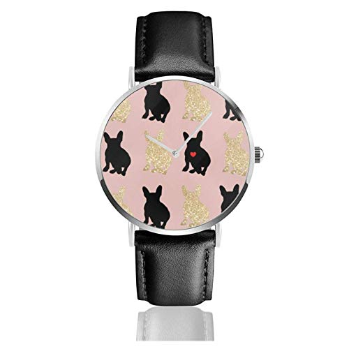 Frenchie Love Silhouette Uhr Quarzwerk Wasserdichtes Leder Uhrenarmband für Männer Frauen Einfache Business Casual Uhr
