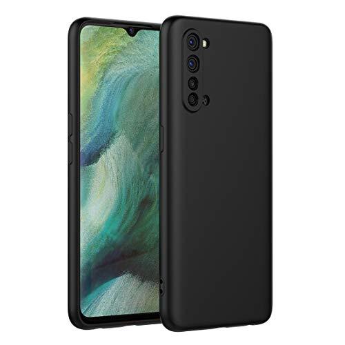 FUNMAX+ Oppo Find X2 Lite 5G Hülle Case, Silikon Handyhülle mit [Schutz für Kamera] [Faser-Innenraum] Anti-Scratch Dünn Schutzhülle Stoßfest Cover für Find X2 Lite (Schwarz)