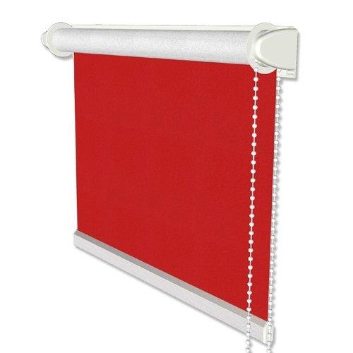 INTERDECO Verdunkelungsrollo/Thermo Rollo, Rot BxH 83,5 x 175 cm, Klemmfix Rollos ohne Bohren, Seitenzugrollos mit Silberbeschichtung