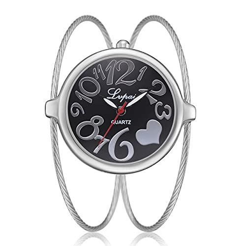 2021 - Reloj de pulsera femenino de lujo con esfera de aleación de 32 mm, para mujer, de cuarzo, color plateado y negro