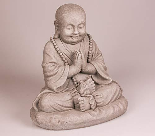 Statuette Bouddha Assis priant - Maison/Jardin - 35 cm (Hauteur) - Gris