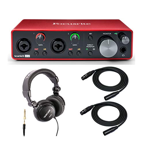 Focusrite Scarlett 2i2 3rd Gen 2x2 USB Audio Interface Bundled with Headphones and 2 XLR Cables (4 Items)
