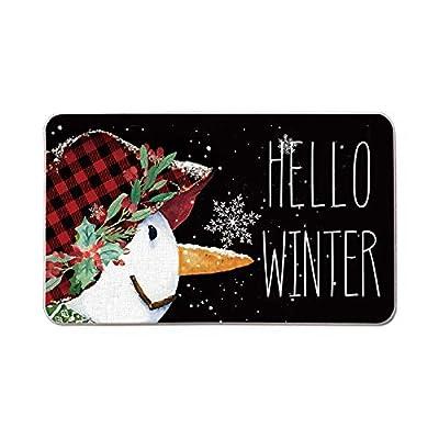 AVOIN Hello Winter Snowman Snowflakes Decorative Doormat, 17 x 29 Inch Christmas Winter Holiday Non-Skid Low-Profile Floor Mat Switch Mat Indoor Outdoor Home Garden