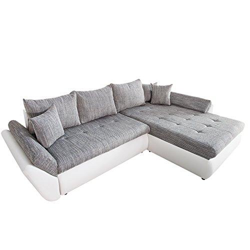 Invicta Interior Design Ecksofa Rodeo Weiss Strukturstoff grau mit Schlaffunktion OT frei wählbar