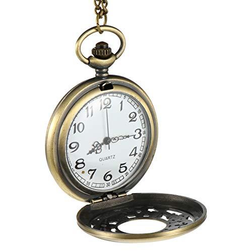 UKCOCO Reloj de Bolsillo Vintage con Huecos de Cuarzo Reloj de Bolsillo Retro con Cadena Colgante para Regalo Del Día de Las Madres Del Día Del Padre