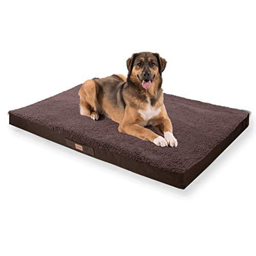 brunolie Balu - Cama para perros lavable, ortopédica y antideslizante, cojín para perros de peluche suave, beis, marrón oscuro, gris oscuro y gris, tallas S-XXL