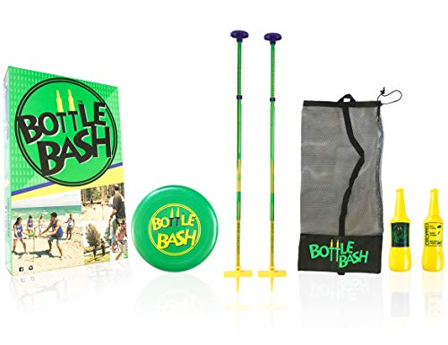 Bottle Bash Standard Outdoor Game Set – New Fun Disc Toss Game for Family Adult & Kid to Play at Backyard Lawn Beach Game - Frisbee Target Yard Game with Poles & Bottles (Beersbee & Polish Horseshoes)