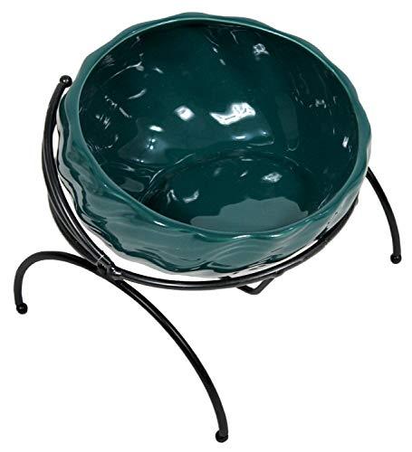 PetStyle エサ皿 フードボウル 犬 猫 食べやすい 陶器 食器台 アイアンスタンド シングル (グリーン)