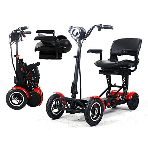 Elektromobil Klappbar, Elektro Rollstühle Tragbar Leichter Kompakter Faltbare 4-Rad Motorisierter Handicap-Roller Mit Sitz Für Erwachsene Senioren Mit Behinderungen (Rot,36V15.6AH/40KM)