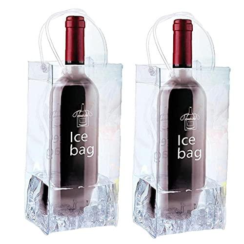 CHUANGFU 2 Piezas De PVC Transparente Ice Bagwine Botella De Champán Bolsa Fría Bolsa A Prueba De Fugas Bolsa Refrigeradora con Asa para Pubs Y Restaurantes, Hogar, Etc.
