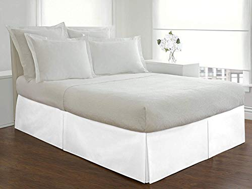 JS Sanders Collection Box Pleated Unique Bedding BedSkirt 800-Thread Count Solid Pattern 14' inch Drop Long Staple Durable Comfortable with Split Corners (King: White)