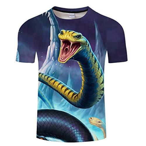 BZPOVB T-Shirts Unisexe Mode Cool Chemises à Manches Courtes 3D Creative Imprimé Attaquer Personnalité Viper Graphics Mode T-Shirts (Color : Multi-Colored, Size : XXL)