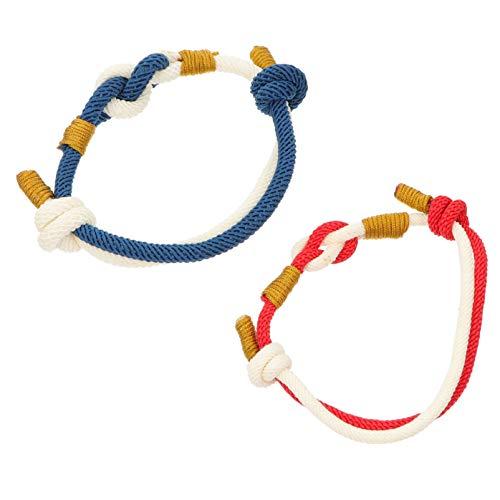 ABOOFAN Pulsera de Cuerda Trenzada Pulsera de Pareja Cuerda de Cadena Joyería de Mano para Mujeres Hombres Amante San Valentín Novio Novia Brazalete 2 Uds.