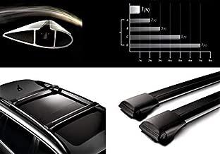 Lockable AeroWingBar Aerodynamic Aluminium Cross Bars Roof Racks for Mercedes W211 E Class Estate Wagon Black Anodised