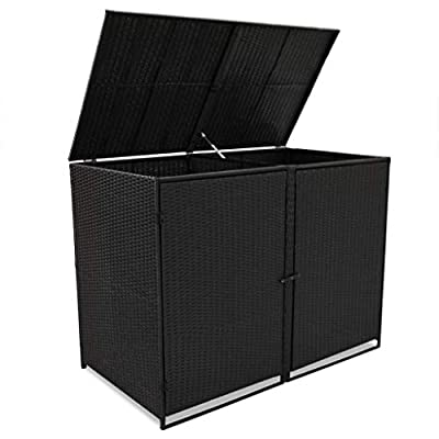Festnight Outdoor Double Waste Bin Shed Patio Garden Storage Shed Poly Rattan Black