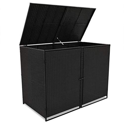 Festnight Mülltonnenbox Müllboxen Mülltonnenverkleidung PE-Rattan 148 x 80 x 111 cm für 2 Tonnen Schwarz
