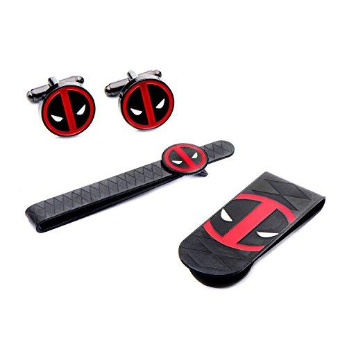 Herren Edelstahl schwarz PVD plattiert Marvel Deadpool Geldklammer Krawattenklammer & Manschettenknöpfe Set