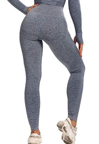 FITTOO Leggings Sin Costuras Mujer Pantalon Deportivo Alta Cintura Yoga Elásticos Seamless #6 Gris Azul Small