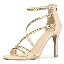 Beige Strappy Stiletto Heels Sandal With Rhinestones