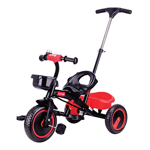 Luvlap - 18637 Elegant Kids Tricycle with Push Bar, Full Metal Frame & Anti-Slip Pedals, 1.5 to 5 Years, Carrying Capacity up to 25 Kg (Red)