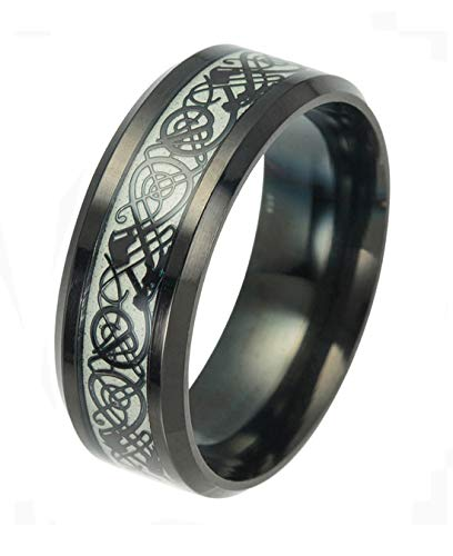 Tanyoyo Luminou Black Celtic Dragon Rings For Men Women Stainless Steel Glow in The Dark Ring (11)