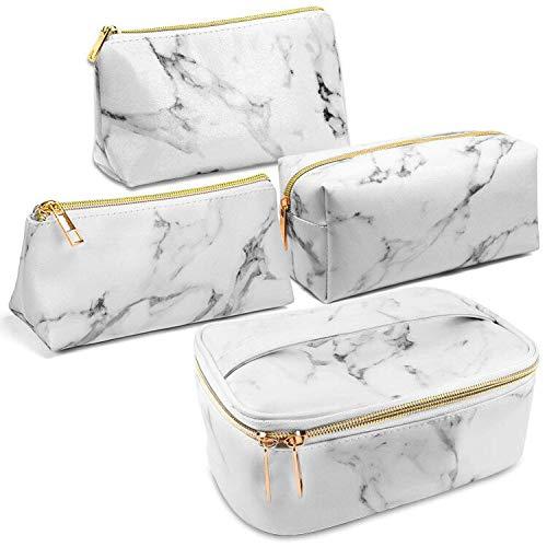 SunTop 4 Stück Kosmetiktaschen, Marmor Kosmetikkoffer, Tragbare Reise Make-Up Schminkkoffer Taschen Wasserdichte Tasche organisieren Makeup Kosmetikkoffer