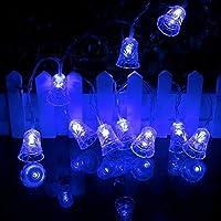 自分でやれ クリスマスライト、1メートル2メートルベル形のLEDライト、ガーランドライト用ストリングライト、パーティーに適し、ベッドルームの装飾 パーティーや室内装飾に最適 (Color : Blue, Size : 2m 20ELDs)