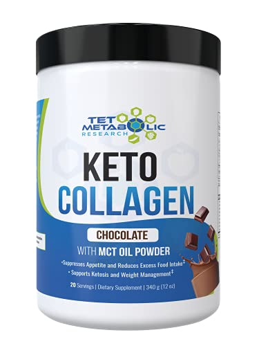 Keto Collagen Protein with MCT Oil Powder from Organic Coconut (Chocolate) 11.5oz. Perfect for Keto Creamer, Snacks. Great for Low Carb Diet Meal Shake Replacement