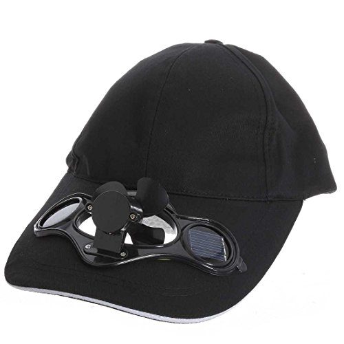 REFURBISHHOUSE schwarz Solar Luft Fan Baseball Ventilator Muetze Fuer Camping Reisen
