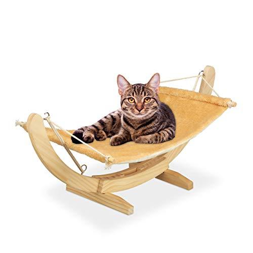 Relaxdays Katzenhängematte, kuschelige Hängematte für Katzen, Katzenliege mit Holzgestell, HBT: 28,5 x 35 x 67 cm, beige