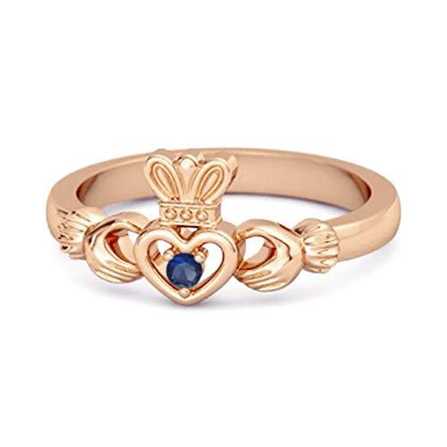 Shine Jewel Multi Elija su Piedra Preciosa Chiquita Claddagh 0.02 Ctw 925 Libra esterlina Anillo Corona De Plata Chapado En Oro Rosa (8, Zafiro Azul)